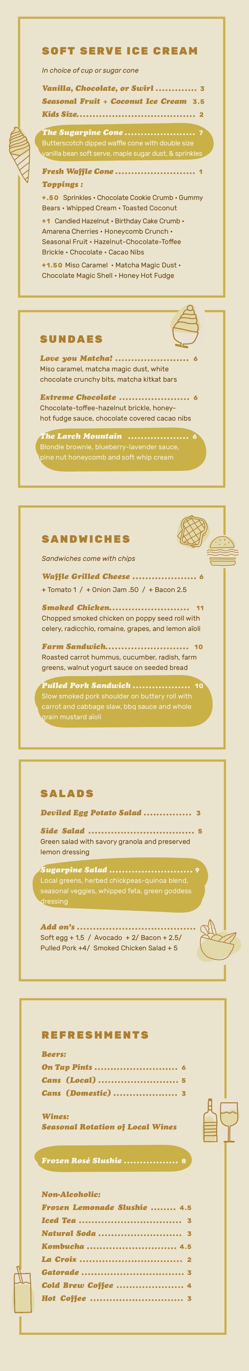 Sugarpine Menu Vertical