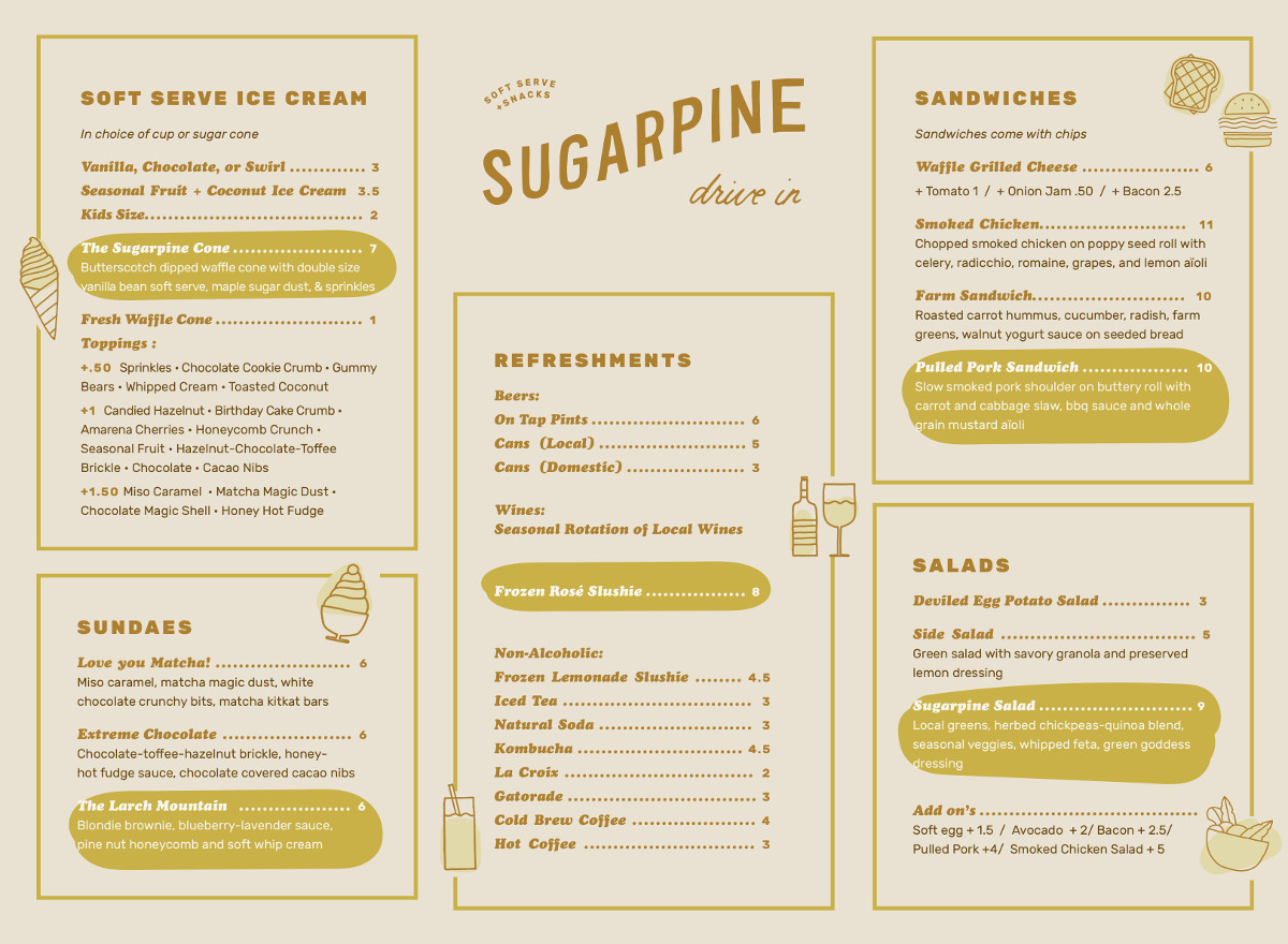 Sugarpine Menu