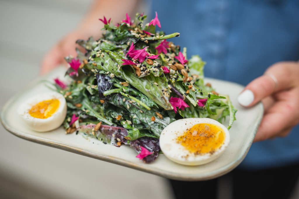 Side Salad with soft egg