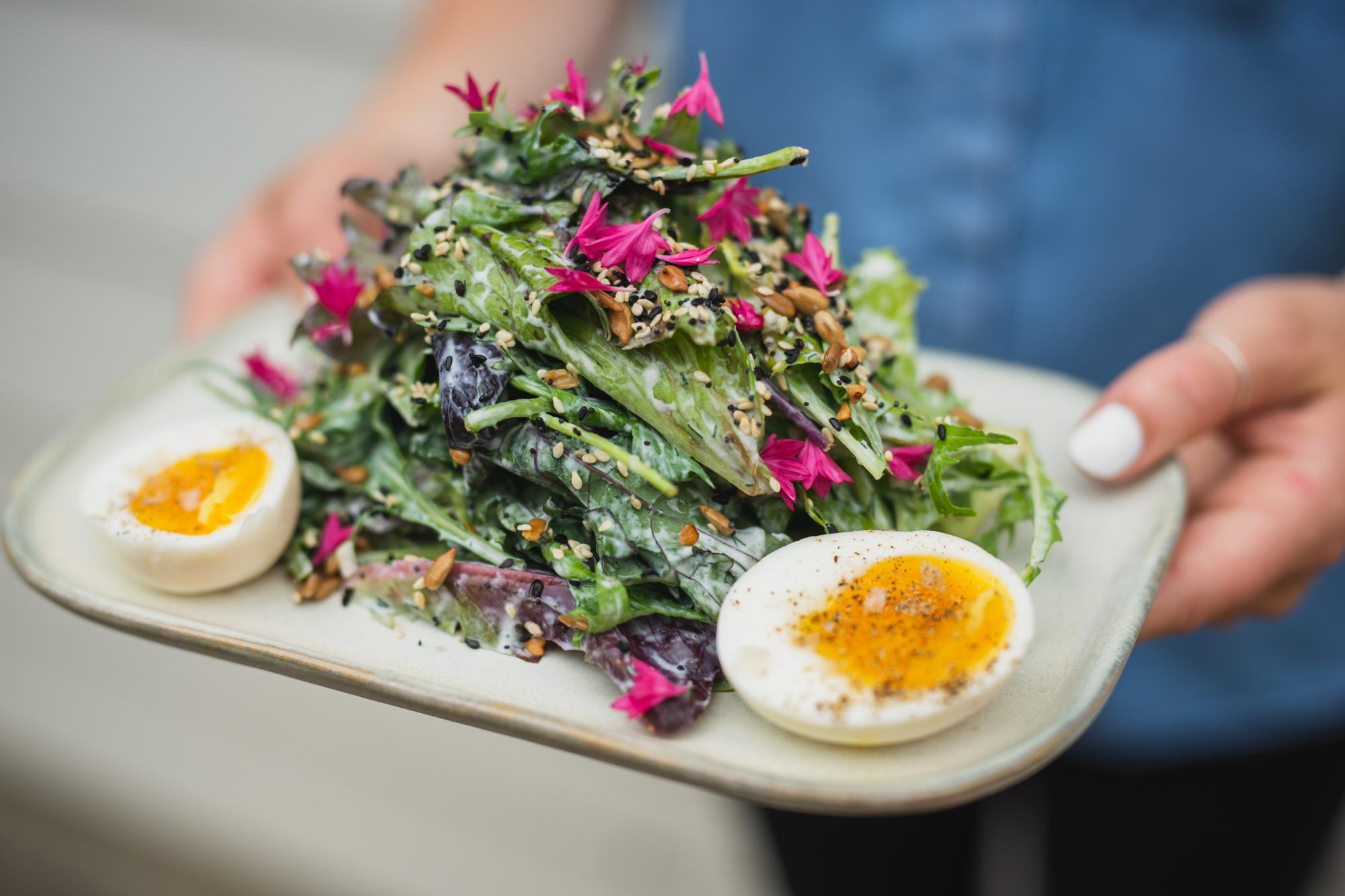 Side Salad with soft egg