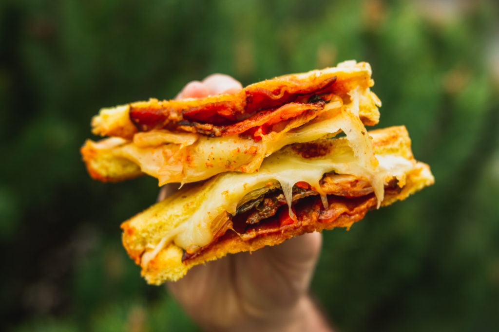 Waffle Grilled Cheese with Kimchi