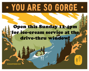 Open this Sunday for drive-thru ice cream!